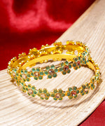 Priyaasi Set of 2 Gold-Plated Stones Studded, Green Meenakari Bangles in Floral Pattern