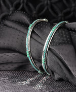 Set Of 2 Designer Silver Plated Green Emerald Stone Studded Bangles For Women And Girls