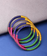 Priyaasi Designer Gold Plated Pink, Blue, Yellow and Green Silk Threaded Latest Stylish Traditional Multicolor Bangles For Women And Girls Set Of 4