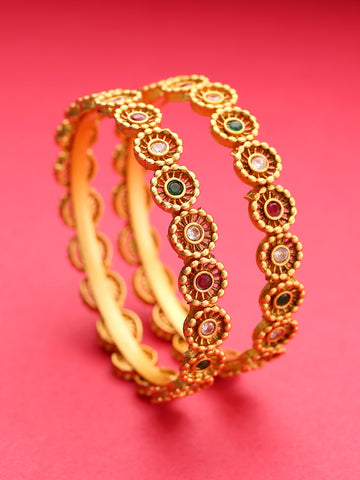Set Of 2 Gold-Plated Multicolored Stones Studded Bangles in Floral Pattern