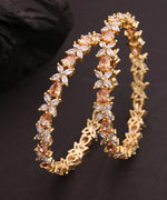Priyaasi Set Of 2 Gold-Plated American Diamond Studded Bangles in Floral Pattern