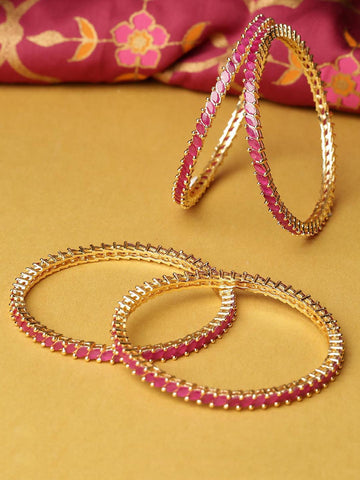 Set Of 4 Gold-Plated Maroon Stone-Studded Beautiful Bangles