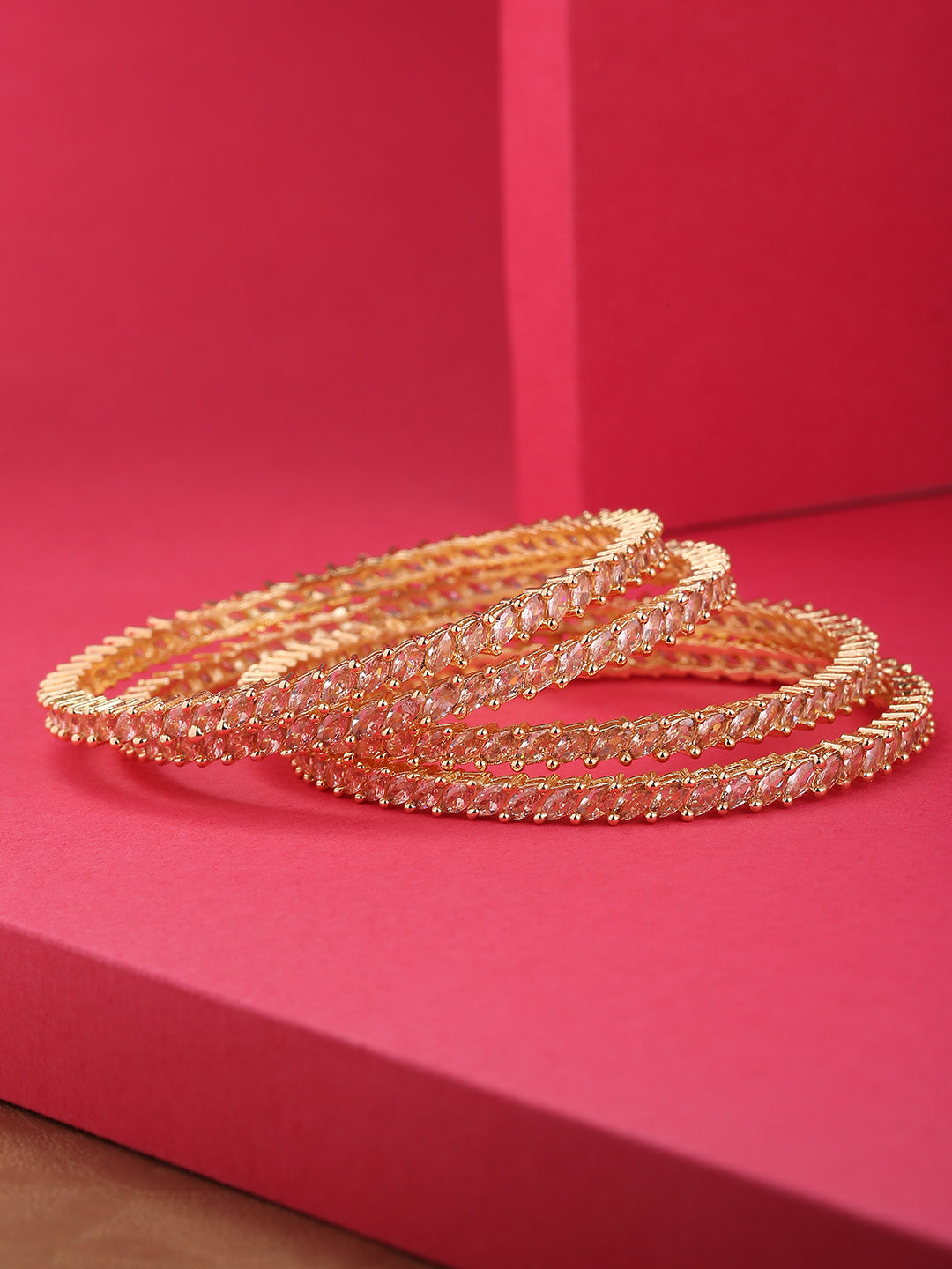 Set Of 4 Gold-Plated Marquise Cut American Diamond Studded Bangles