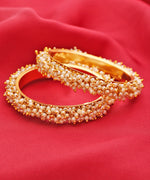 Priyaasi Set Of 2 Gold-Plated Pearls Studded Bangles