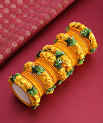 Priyaasi Set Of 46 Floral Design Yellow Colour Silk Thread Wound Bangle Set