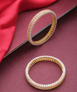 Priyaasi Set Of 2 Dual-Toned American Diamond Studded Bangles