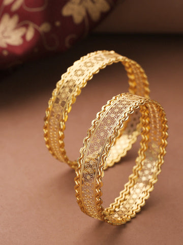 Set Of 2 Gold-Toned Detailed Jali work Bangles