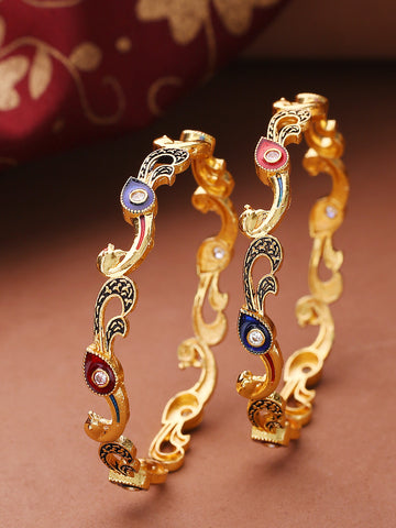 Set Of 2 Gold-Plated Peacock Inspired Meenakari Bangles in Red And Blue Color