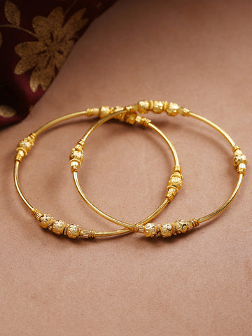 Gold-Toned Beaded Designed Traditional Bangles Set Of 2