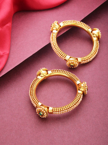 Set Of 2 Gold-Plated Pearls Studded Borla Bangles