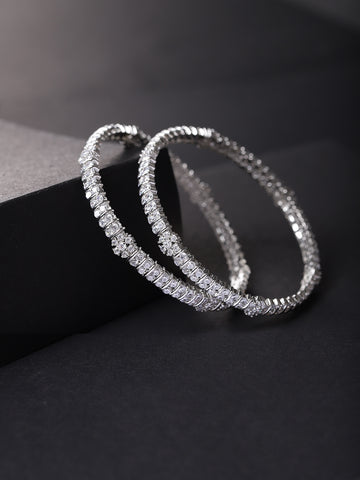 Set Of 2 Silver-Plated American Diamond Studded Bangles