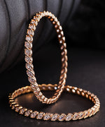 Priyaasi Set of 2 Rose Gold Plated Leaf Designed American Diamond Studded Bangles