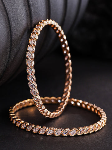 Set of 2 Rose Gold Plated Leaf Designed American Diamond Studded Bangles