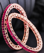 Priyaasi Set Of 2 Rose Gold Plated Maroon Stone Studded Beautiful Handcrafted Bangles