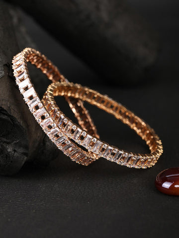 Set of 2 Artificial Stones Gold Plated Bangles