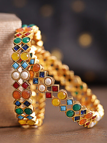Set Of 2 Gold Plated Pearl And Multicolor Stones Studded Handcrafted Bangles