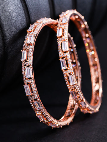 Set Of 2 Rose Gold-Plated American Diamond Studded Geometric Patterned Bangles