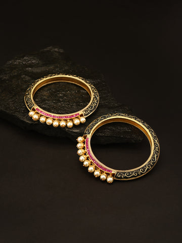 Set Of 2 Matte Gold Finish Stones And Pearl Studded Multicolor Bangles