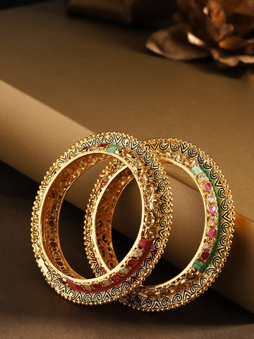 Set Of 2 Gold-Plated Stones Studded Meenakari Bangles
