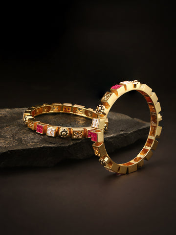 Set Of 2 Gold Plated AD And Red Stones Studded Geometric Pattern Multicolor Bangles