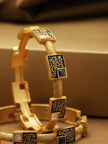 Set Of 2 Gold-Plated Multicolor Stones Studded Geometric Bangles