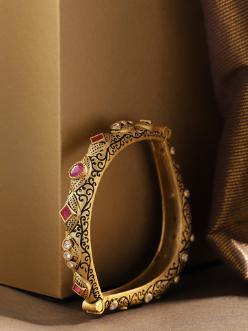 Gold-Plated American Diamond & Ruby Studded Openable Bangle