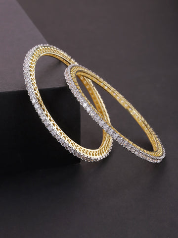 Set Of 2 Gold-Plated American Diamond Studded Bangles
