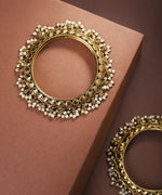 Priyaasi Set Of 2 Gold-Plated Pearls Drop Bangles