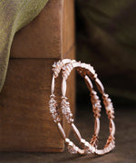 Priyaasi Set Of 2 Rose Gold-Plated American Diamond Studded Bangles