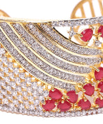 Priyaasi Gold-Plated Ruby and American Diamond Studded Cuff Bracelet in Magenta Color