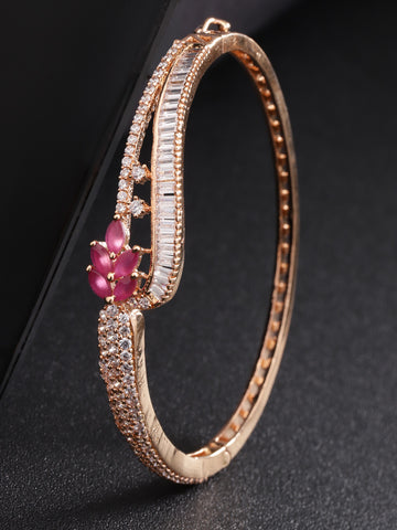 Rose Gold-Plated Ruby and American Diamond Studded Bracelet in Floral Pattern