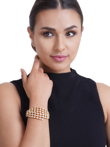 Gold-Plated American Diamond Studded Kada Bracelet