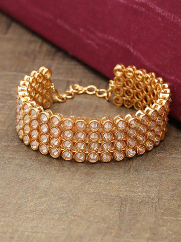 Traditional Broad Gold Plated Round Bracelet For Women And Girls