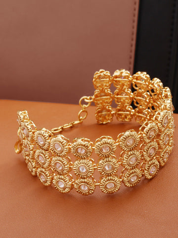 Traditional Gold Plated Broad Floral Bracelet For Women And Girls