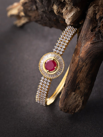 Gold-Plated American Diamond and Ruby Studded Bracelet in Pink Color