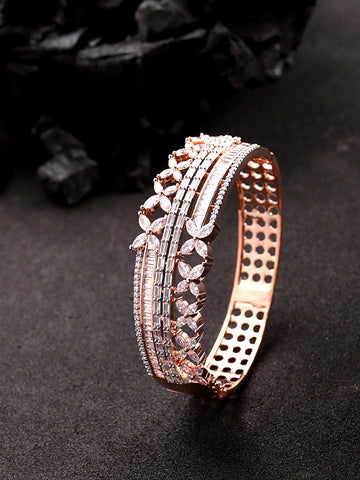 Sparkling 4 Line Floral American Diamond Bracelet For Women And Girls