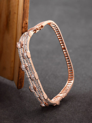 Rose Gold-Plated American Diamond Studded Bracelet in Square Shape