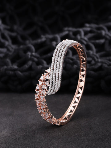 Rose Gold-Plated American Diamond Studded Bracelet