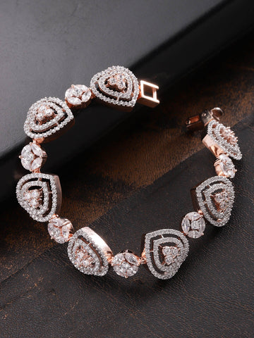 Rose Gold-Plated American Diamond Studded Link Bracelet in Heart Pattern