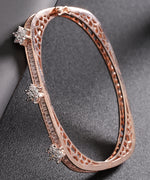 Priyaasi Rose Gold-Plated American Diamond Studded, Floral Patterned Bracelet in Square Shape