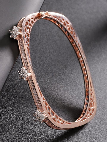 Rose Gold-Plated American Diamond Studded, Floral Patterned Bracelet in Square Shape