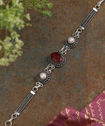 Priyaasi Oxidized Silver-Plated, Ruby and Pearls Studded Link Bracelet