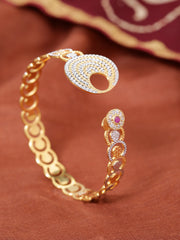 Gold-Plated Dual-Tone Bangle Style Bracelet