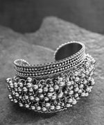 Oxidised Silver-Toned Ghungroo Handcrafted Cuff Bracelet