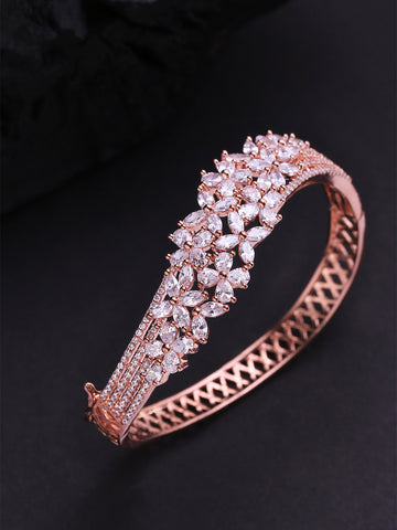 Rose Gold-Plated American Diamond Studded Bracelet in Floral Pattern