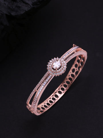 Gold-Plated American Diamond Studded Dual Toned Floral Cuff Bracelet