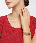 Gold-Plated American Diamond and Ruby Studded, Floral Patterned Kada Bracelet in Pink Color