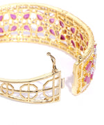 Priyaasi Gold-Plated American Diamond and Ruby Studded, Floral Patterned Kada Bracelet in Pink Color