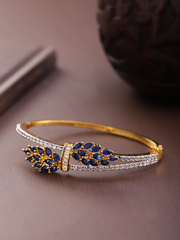 Gold-Plated American Diamond Studded, Floral Patterned Bracelet in Blue Color