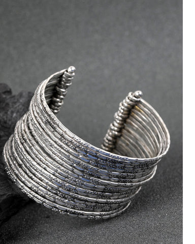 Silver Plated Multi Bangles Like Cuff Bracelet